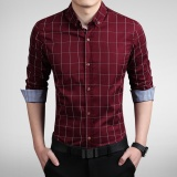 Sales Price Long Sleeve Men Plaid Slim Cotton Shirts Male Business Summer Casual Shirt Intl
