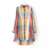Loose Han Female Mid Length Cotton Linen Top Plaid Shirt Pink In Stock
