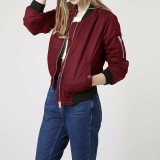 Brand New Long Sleeve Slim Jackets Zanze A Women 2016 Autumn Winter Vintage Stand Collar Celeb Bomber Coats Casual Solid Outwear Plus Size Wine Red