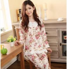 Best Offer Long Sleeved Ladies Pajamas Set Cotton Pyjamas For Women Pijama Mujer Floral Print Sleepwear Homewear Nightgown Intl
