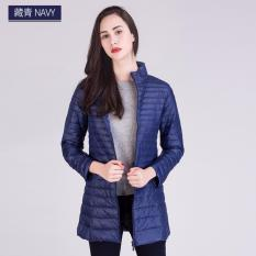 Sale Long Women Ultra Light Duck Down Jacket L1 Navy Oem Branded