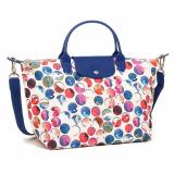 Buy Cheap Longchamp Medium Le Pliage Neo Fantaisi 1515 Nylon Crossbody Series Multicolor Dots Blue