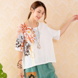 Lowest Price Women S Large Size Loose Print Cotton Short Sleeves T Shirt White White