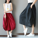 Loose Art Cotton And Linen Women L Cropped Harem Pants Red Red For Sale Online