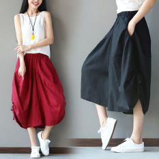 Store Loose Art Cotton And Linen Women L Cropped Harem Pants Red Red Other On China