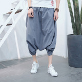 Price Men S Summer Pants Back Rise Width Trousers Gray On China