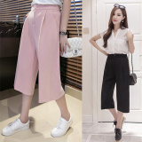 Buy Looesn Chiffon Female Summer Women S Pants Capri Wide Leg Pants Black Cheap China