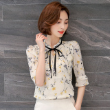 Best Offer Loose Fit Female New Style Short Half Sleeve Shirt Shirt Chiffon Shirt Yellow