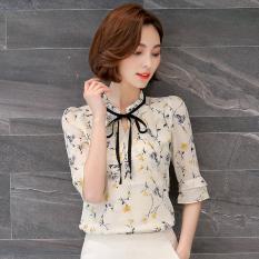 Loose Fit Female New Style Short Half Sleeve Shirt Shirt Chiffon Shirt Yellow Shopping