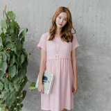 Compare Prices For Cotton Linen Loose Fit Short Sleeved Nursing Skirt Dress Pink