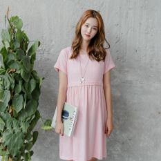 Cotton Linen Loose Fit Short Sleeved Nursing Skirt Dress Pink Shopping