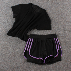Where Can I Buy Looesn Female Fitness Room Running Pants Yoga Clothes Network T Black Three Side Shorts Purple