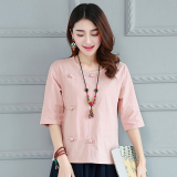 Top Rated Loose Korean Style Cotton Linen Women New Style Linen Shirt T Shirt Pink