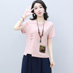 Best Deal Looesn Korean Style Cotton Linen Women New Style Short T Shirt Short Sleeved Top Pink