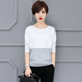 Great Deal Loose Korean Cotton New Sheath Top T Shirt White Gray White Gray