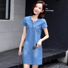 Low Cost Women S Korean Style Spring Slimming Jean Dress Light Colored Light Colored
