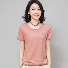 Cheaper Korean Style Cotton Female Loose Fit Shirt T Shirt Pink