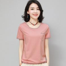Cheap Korean Style Cotton Female Loose Fit Shirt T Shirt Pink Online