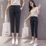 Discount Loose Korean Style Female Summer New Style Casual Pants Cotton Linen Capri Pants Black