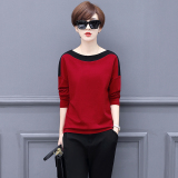 Loose Korean Style Plus Velvet Female Spring New Style Base Shirt T Shirt Hong Plus Black In Stock