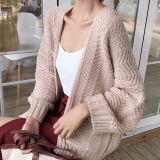 Women S Korean Style Loose Woolen Coat Beige Lower Price