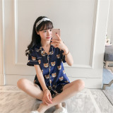 Women S Korean Style Real Silk Pajamas Pink Blue Blue Blue Promo Code