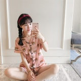 Women S Korean Style Real Silk Pajamas Pink Blue Pink Pink Reviews