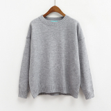Coupon Loose Korean Style Solid Color New Style Basic Top Pullover Sweater Gray