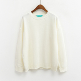 Latest Loose Korean Style Solid Color New Style Basic Top Pullover Sweater White