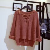 Loose Korean Style Students Long Sleeve Cotton Knitwear Sweaters Rust Hong Shopping