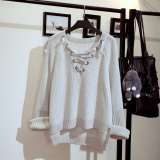 Loose Korean Style Students Long Sleeve Cotton Knitwear Sweaters White Gray Free Shipping