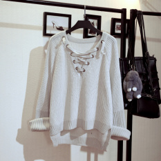 Wholesale Loose Korean Style Students Long Sleeve Cotton Knitwear Sweaters White Gray