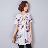 Sale Jacepy Women S Korean Style Printed Cotton Linen Blouse Blue Purple Purple Purple Jacepy Online