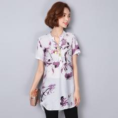 Best Reviews Of Jacepy Women S Korean Style Printed Cotton Linen Blouse Blue Purple Purple Purple