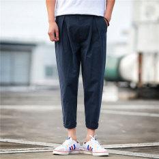Brand New Looesn Men S Plus Sized Linen Pants Cotton Linen Casual Pants Dark Blue Color