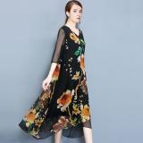 Elegant Vintage V Neck Printed Loose Fit Chiffon Dress Black Black For Sale Online