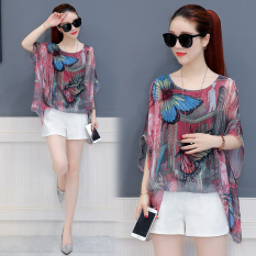 Discount Loose Korean Style New Style Mock Two Piece Top Chiffon Shirt Butterfly Printed
