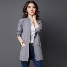 Review Spring New Style Loose Fit Sweater Cardigan Gray Yimantin