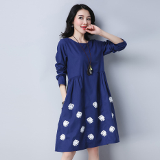 Loose Artistic Cotton Linen Autumn New Style Long Sleeved Dress Blue Cheap