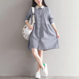 Loose Artistic Cotton Linen Mid Length Contrasting Color Dress Striped Shirt Best Price