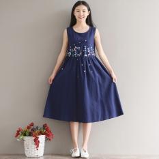 Loose Artistic Cotton Linen Slimming Drawstring Closure Dress Vest Dress Blue Other Discount