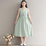 Discount Loose Artistic Cotton Linen Slimming Drawstring Closure Dress Vest Dress Green China
