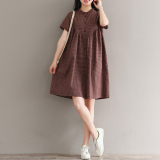 Buy Loose Literary Cotton Solid Color Spring And Summer Put On A Large Dress