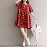 Compare Loose Artistic Cotton Linen Spring And Summer New Style Round Neck Dress Prices