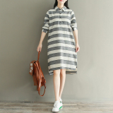 Discount Women S Loose Fit Cotton Linen Striped Dress White Blue White White