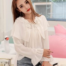 Deals For Mori G*rl Line White Nv Zhang Xiu Shirt Chiffon Shirt