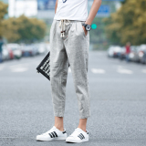 Cheaper Loose Boy S Ankle Length Pants Light Gray Color