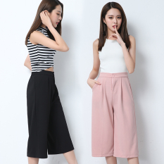 For Sale Women S Stylish High Waisted Cropped Chiffon Wide Leg Pants Pink Pink