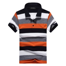 Where Can You Buy Loose Casual Cotton Turndown Collar L Top Stripe Short Sleeve T Shirt Orange Orange