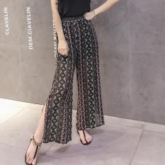 Loose Chiffon Dress Female Waist Pants Wide Leg Pants Dark Green Bar Oem Cheap On China